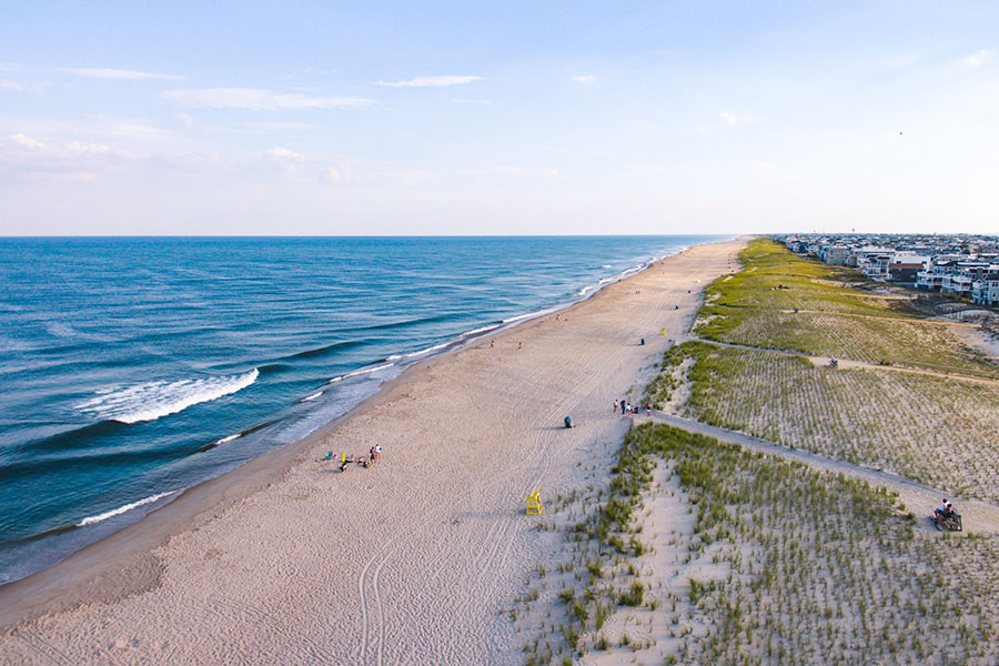 Insurance Quote - Aerial View of Beach in New Jersey at Sunset